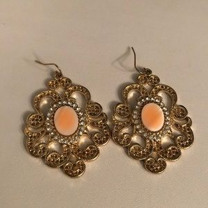 Jewelry - NEW gold and peach earrings NWOT